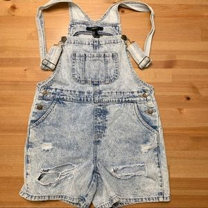 Distressed Jean Short Overalls